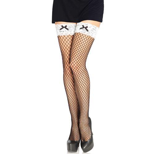 Sexy visnet kousen met contrasterende witte kanten band en zwart strikje
