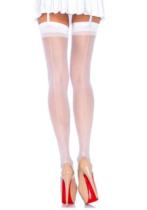Transparante nylon jarretel kousen met elegante naad