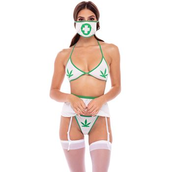 Bh string jarretel set met cannabis decoratie 4 delig