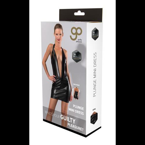 Gp Wetlook Plunge Mini Dress Black, L