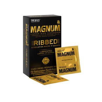 Trojan Magnum XL Geribbelde Condooms - 12 stuks