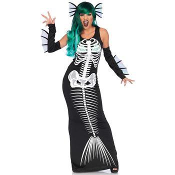 Skelet zeemeermin Halloween Kostuum