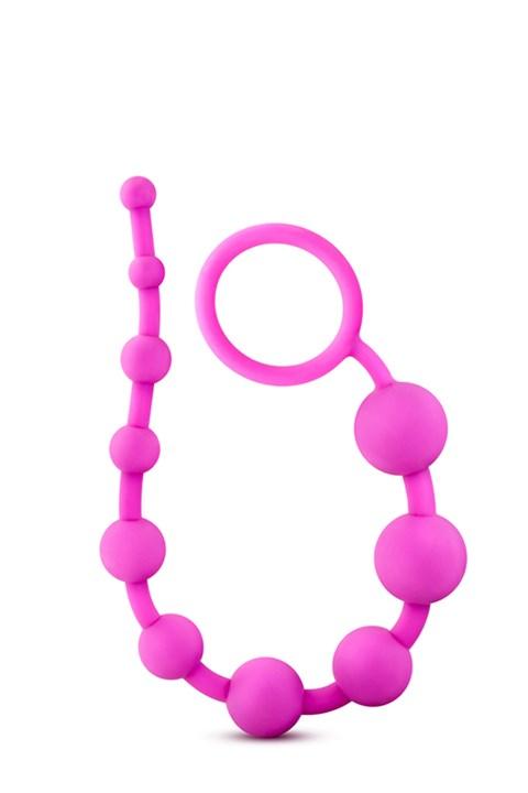 10 siliconen anaalkralen (Kleur: Roze)