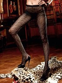 Zwarte panty met patroon in filigraan