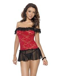 Mini jurk met rood kant en bijpassende string