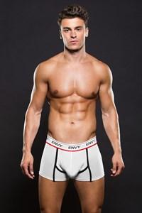 Witte boxer met zwarte naden