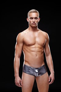 Zwarte glimmende low-rise boxer