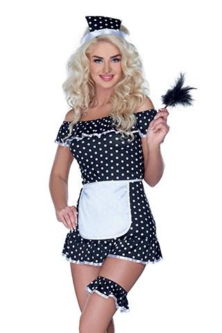 Gestippeld huishoudster kostuum (Maat: 2XL)