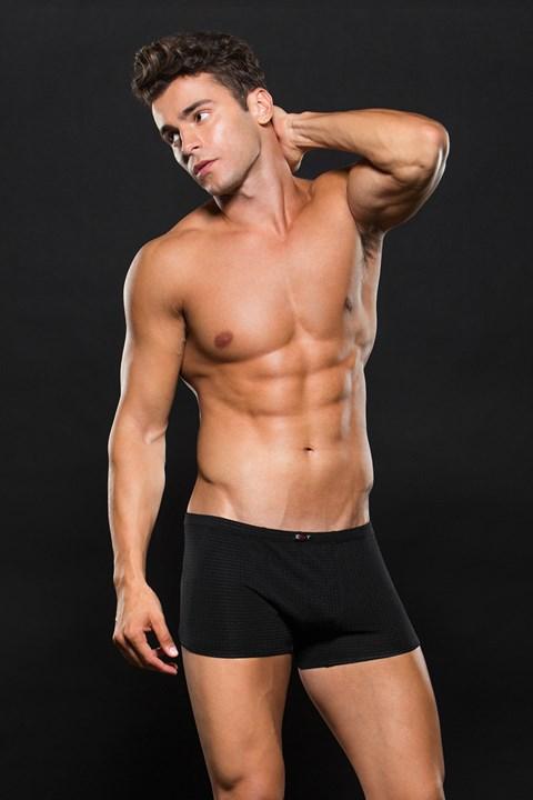 Zwarte boxer met wafel patroon (Maat: L/XL)