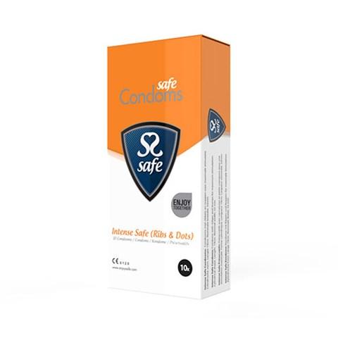 Intens safe condooms (ribbels en nopjes) (Aantal: 10 stuks)