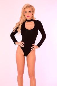 Bodysuit met choker (zwart)