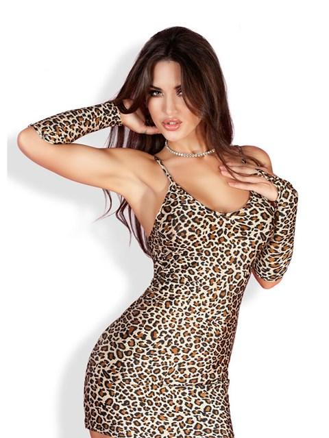 Chilirose jurkje met luipaard print (Maat: L / XL)