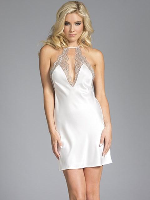 BeWicked Grace witte satijnen jurk (Maat: L)
