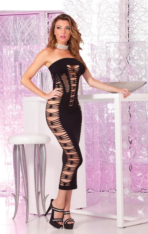 Naadloze lange jurk met uitgesneden detail (Kleur: Zwart)